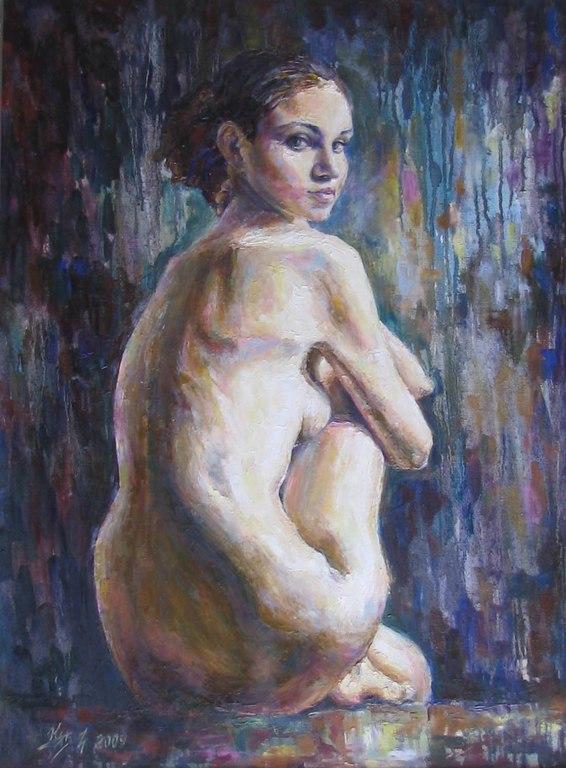 Молодые художники и голая натурщица